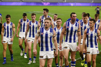 Kangaroos players leave the field after their loss against Fremantle at a closed Optus Stadium on the weekend.
