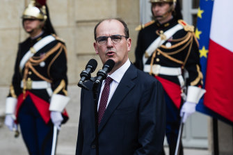 Jean Castex, France's new Prime Minister, delivers a speech during a handover ceremony at the Hotel de Matignon, the PM's official residence, in Paris.