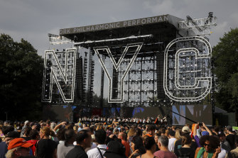 Concertgoers attend We Love NYC: The Homecoming Concert at the Great Lawn in Central Park.