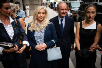 Virginia Roberts Giuffre with lawyer David Boies in New York this week. Boies is representing several of Jeffrey Epstein's alleged victims.