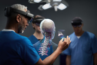 "The HoloLens's ""mixed reality"" applications include healthcare."