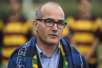 Acting Premier James Merlino at La Trobe University in Bundoora on Sunday morning to announce the Victorian budget will set aside $100 million for a purpose-built facility for the Australian women's national soccer team, the Matildas.