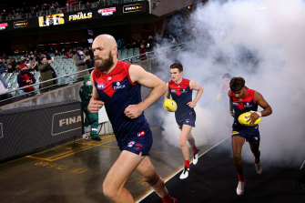 Max Gawn leads out Melbourne.