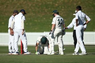 Will Pucovski after he was hit at Drummoyne Oval earlier this month.