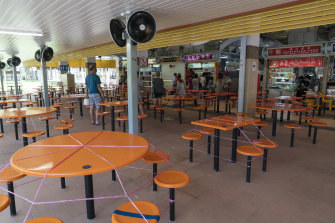 A food centre in Singapore's Ang Mo Kio area. Restaurants have been closed for a month.