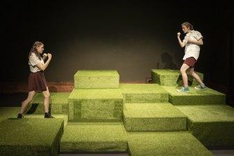 Abbie (Ayesha Harris-Westman) and Pb (Lucy Rossen) in Cactus.