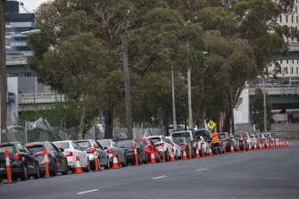 The queue for a COVID-19 test at Normanby Street in South Melbourne on Wednesday.