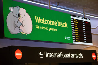 A welcome back sign at Auckland International Airport to celebrate the quarantine-free Australia and New Zealand travel bubble.