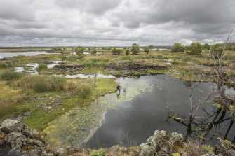 The Gunditjmara people engineered their land by building a complex system of weirs, channels and lakes upon the lava flows that run from Budj Bim to the sea.