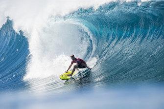 John John Florence taking on a wave.