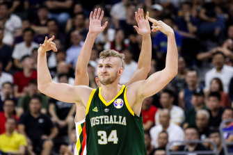 Jock Landale in action for the national side at the FIBA World Cup in China last year.