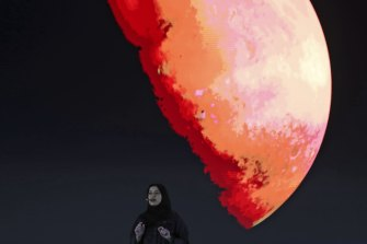 Sarah al-Amiri, Emirati Minister of State for Advanced Sciences and Deputy Project Manager of the Emirates Mars Mission speaks ahead of a live broadcast of the Hope Probe.