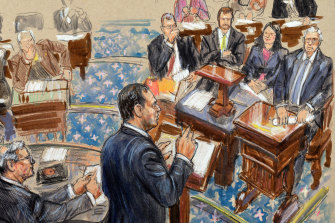 No photos are allowed inside the Senate chamber for the impeachment trial of Donald Trump. An artist sketch shows Democrat Adam Schiff presenting an argument.