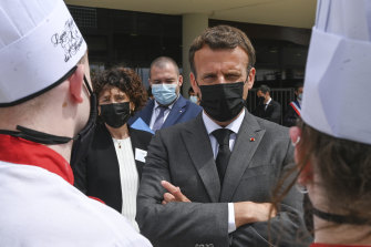 Emmanuel Macron was visiting the Drome region to meet restaurateurs and students.
