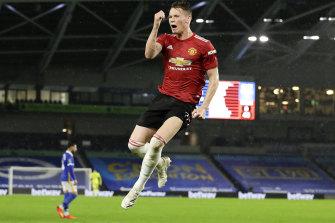 Scott McTominay celebrates United's first.