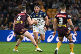 North Queensland wrecking ball Jason Taumalolo hits the line against the Broncos this season.