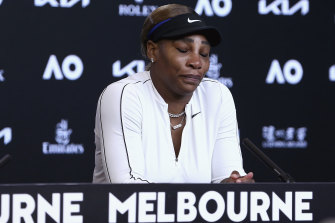 Serena Williams reacts to a question before leaving her press conference following her semi-final loss to Naomi Osaka on Thursday.