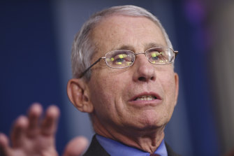 "Dr Anthony Fauci said a May 1 target for reopening the US economy is ""a bit overly optimistic""."