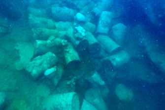 Nearly 200 depth charges were discovered in the cargo hold of a Japanese shipwreck in Koror harbour, Palau. The charges are still in situ underwater today. It's estimated that if they were to detonate, the destruction radius would be two kilometres and the shockwave radius would be eight kilometres.