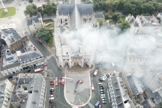 Firefighters work to extinguish the blaze at the cathedral in Nantes on July 18, 2020.
