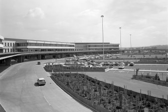 'Futuristic': Melbourne Airport in 1971 with its rose garden, where the multi-storey car park now is.