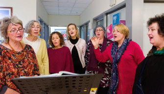 The Melbourne branch of the Thresold Choir, which sings at the bedsides of dying patients.