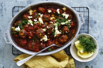 Beef and pork meatballs with tomato and saffron sauce.
