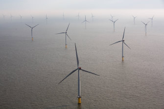 Growth sector: Wind turbines sit in the North Sea at the London Array offshore wind farm in the Thames Estuary, UK.