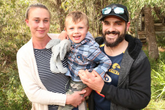 Michelle Buckley with partner Chris O'Reilly and their boy James O'Reilly.