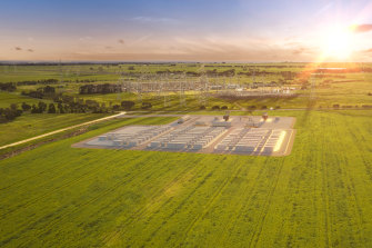An illustration of the new big battery to be built near Geelong.