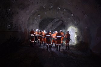 Visitors inspect Kirkland Lake's Gold Mine near Bendigo, Victoria.