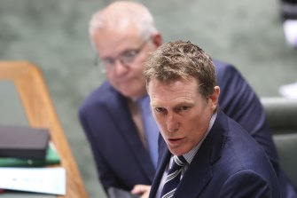 Prime Minister Scott Morrison (left) is considering whether to remove Attorney-General Christian Porter from his role.