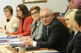 Prime Minister Scott Morrison and Minister for Women Marise Payne during the first meeting of cabinet's women's taskforce in April.