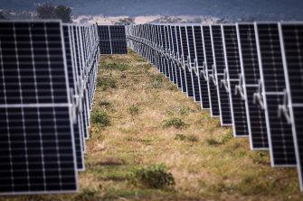 Photovoltaic modules at a solar farm on the outskirts of Gunnedah.