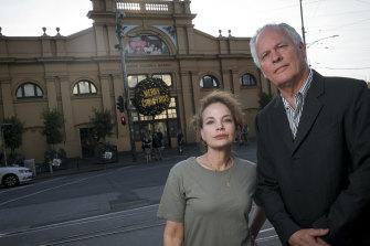 Actor Sigrid Thornton and film producer husband Tom Burstall outside the Victoria Market.