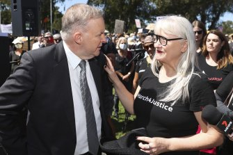 Opposition Leader Anthony Albanese and march organiser Janine Hendry at Monday's protest in Canberra.