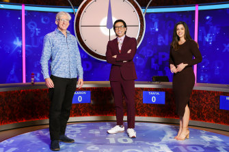 David Astle (left) and Lily Serna return for two new seasons of Letters & Numbers, with new host Michael Hing.