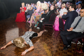 Devo Diva: Penny Tration hits the floor in protest after missing out on a DIVA gong.