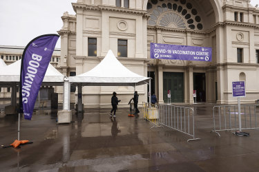 The COVID-19 vaccination centre at the Royal Exhibition Building in Carlton on Friday.