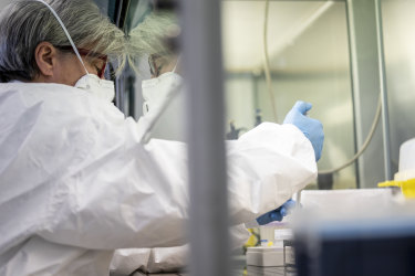 A lab worker extracts the nucleic acids during the coronavirus swab test process at a laboratory in Amedeo di Savoia hospital in Turin, Italy, on Friday, Feb. 28, 2020. Italy remains the epicenter of the coronavirus outbreak in Europe.