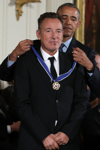 Receiving the Presidential Medal of Freedom from Barack Obama in 2016.