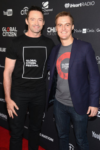 Hugh Jackman with Evans during the 2016 Global Citizen Festival in New York.