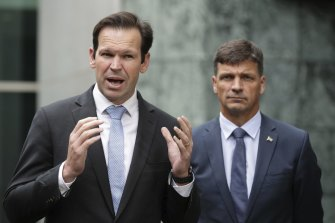 Minister for resources and northern Australia Matthew Canavan with minister for energy Angus Taylor in April.