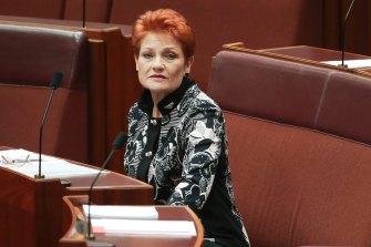 Senator Pauline Hanson during debate in the Senate at Parliament House in Canberra.