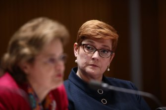 Senator Marise Payne listens to Foreign Affairs Secretary Frances Adamson during estimates.