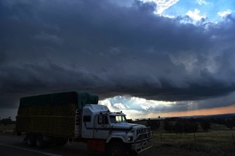 A severe storm rolls in near Gunning in NSW.