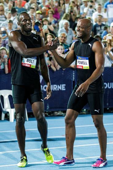 Usain Bolt and Asafa Powell at Nitro last November.