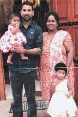 Sri Lankan Tamils Priya and Nadesalingam and their two Australian-born children, from Biloela in Queensland.