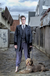 Gadsby with her dog Douglas in Melbourne.