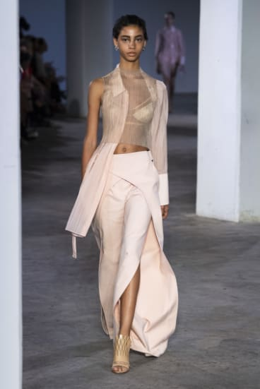 A models shows the new lingerie collection designed by Dion Lee at New York Fashion Week.